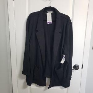 DEX Black Lapel Open Cardigan with Pockets